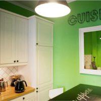 Miroir sur le mur végétal de la cuisine