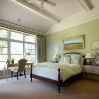 Wooden bed in a classic interior