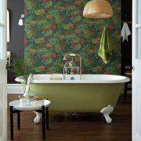 Light green bath on a background of dark wallpaper