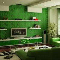 Green wallpaper in a modern style living room