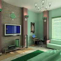 Green wallpaper for painting in the interior of the living room