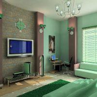 Papier peint vert pour peindre à l'intérieur du salon