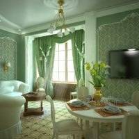 Living room of a country house in green