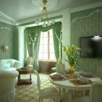 Salon d'une maison de campagne en vert