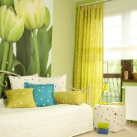 Wall mural with tulips in a bright room