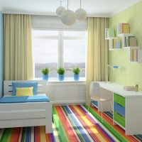 Kids room with striped floor