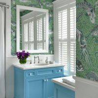 Blinds on the windows of the bathroom in a country house