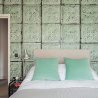 Wallpaper with imitation of glass blocks over the head of the bed