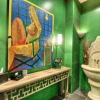 Walls in the bathroom with waterproof wallpaper