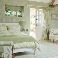 Bedroom interior with access to the courtyard of a private house