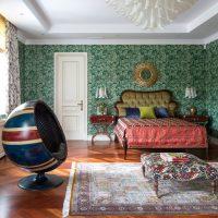 Spherical armchair in a modern bedroom
