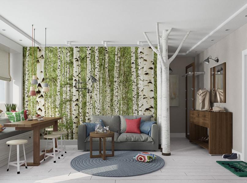 White birch trees on a mural in the living room