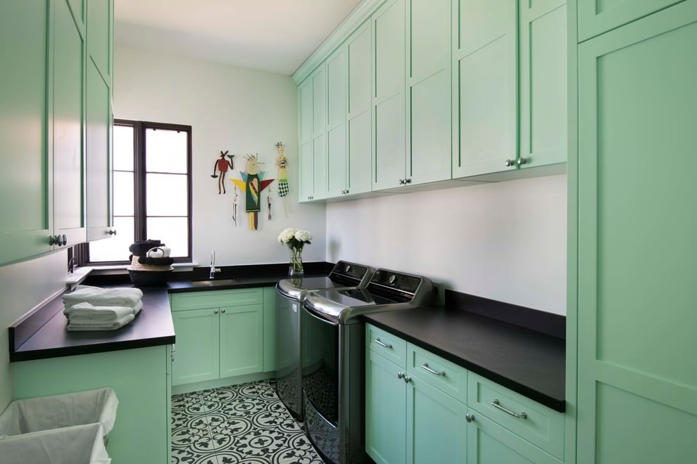 Small Provence style kitchen in mint color