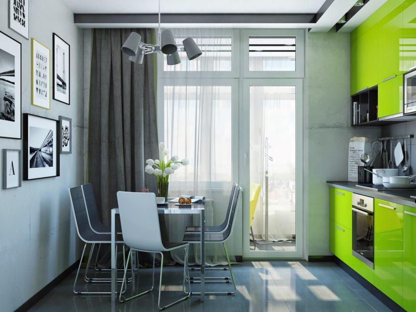 Rideaux gris dans la cuisine avec un ensemble vert