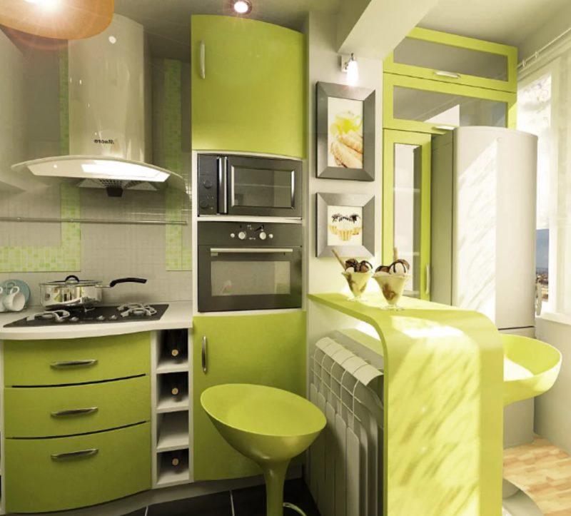 Cuisine vert clair dans un style moderne