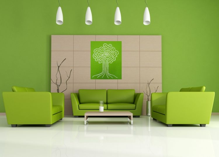 Conception de salon vert minimaliste