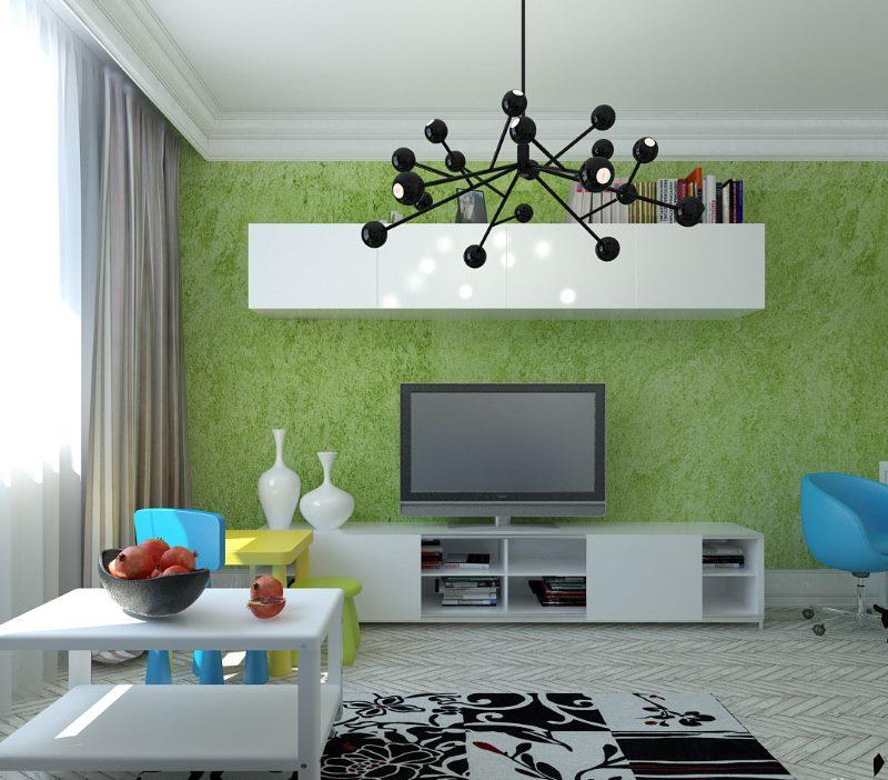 Papier peint vert liquide sur le mur du salon
