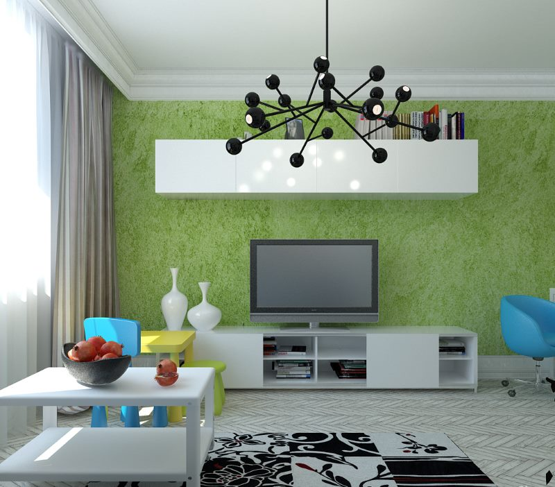Liquid green wallpaper on the living room wall