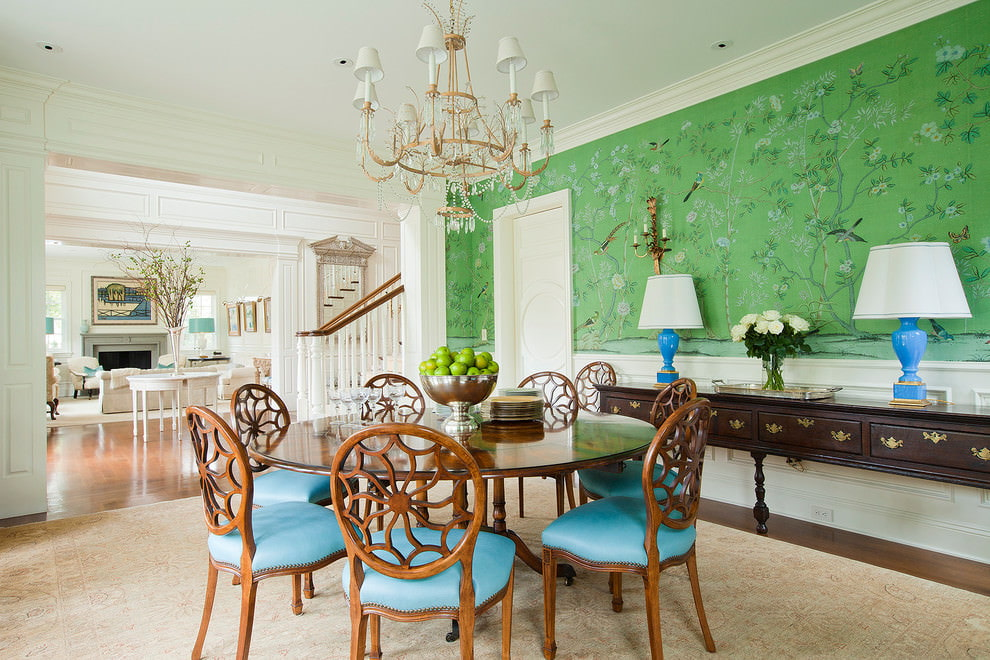 Wooden chairs in a classic living room