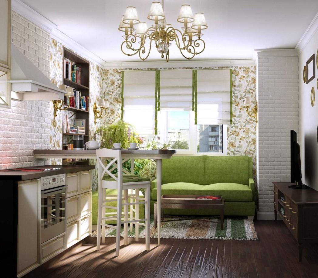 Lustre en verre dans la cuisine avec un canapé vert