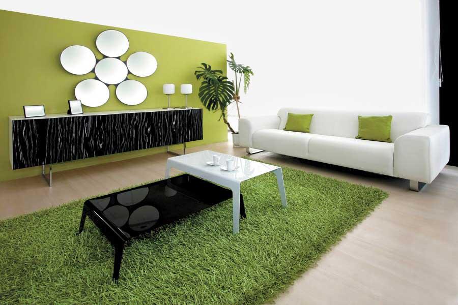 Minimalist green carpet in living room interior