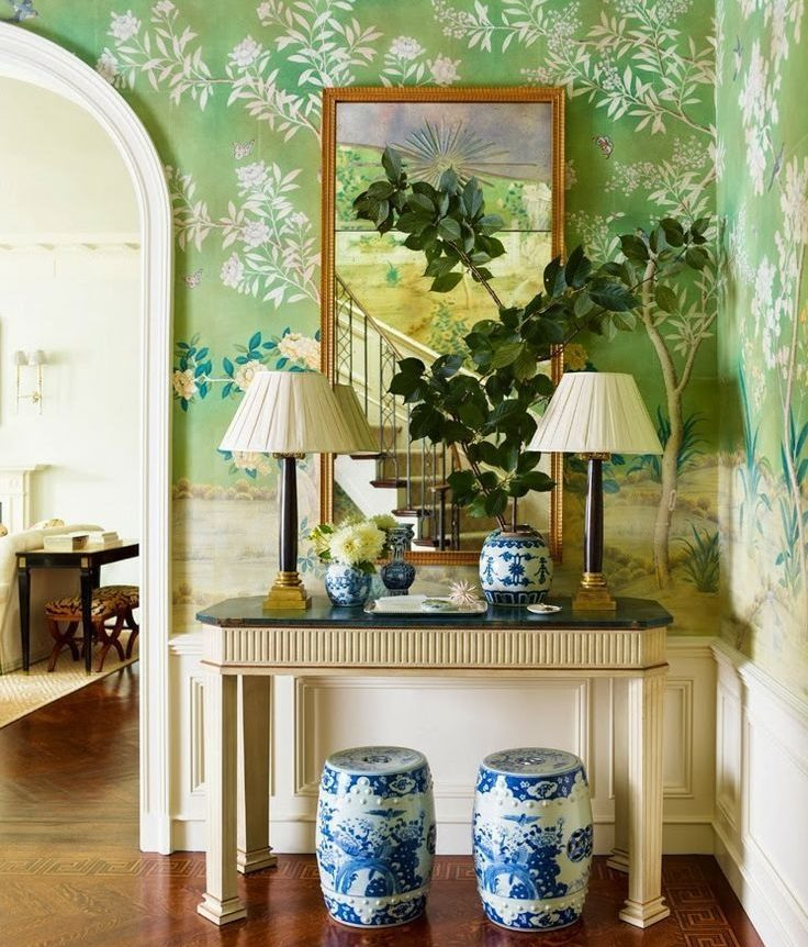 Mirror on the wall with green wallpaper