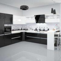 Set de cuisine d'angle noir et blanc