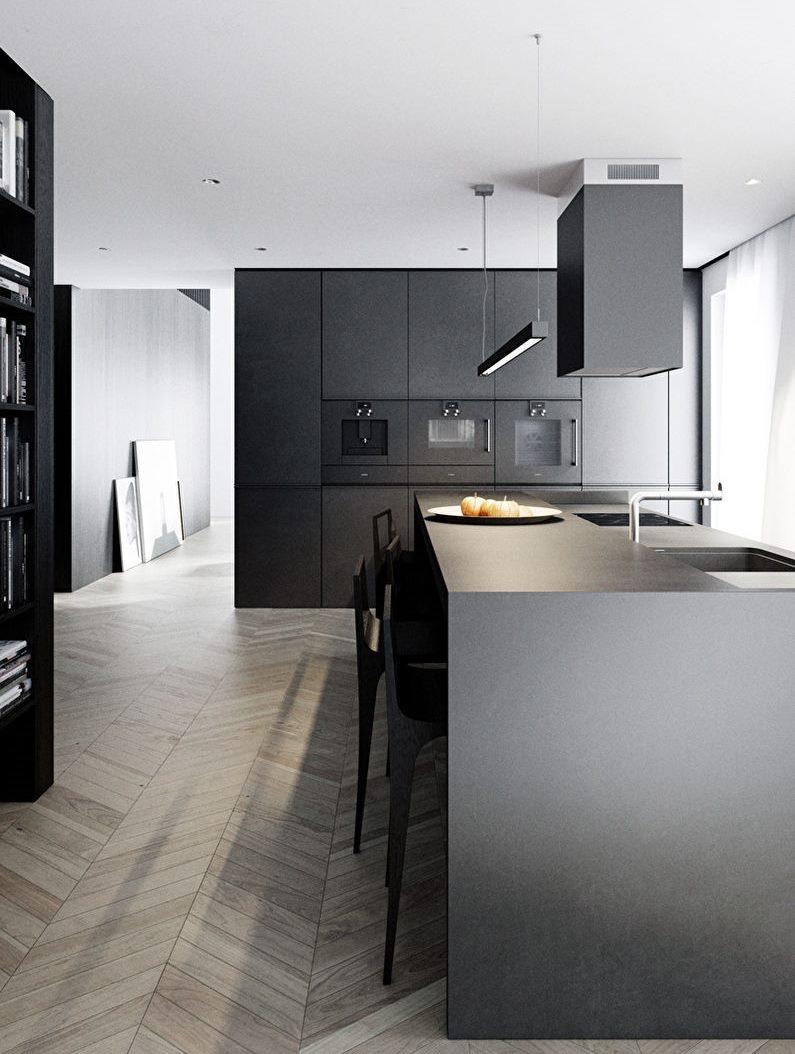 Design minimaliste de cuisine noir et blanc