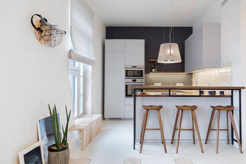 Conception de cuisine de style loft noir et blanc