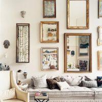 Sienu dekorēšana virs dīvāna spoguļiem