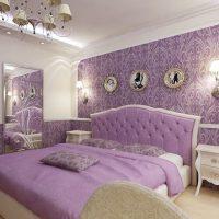 Décoration d'intérieur chambre à coucher de couleur lilas