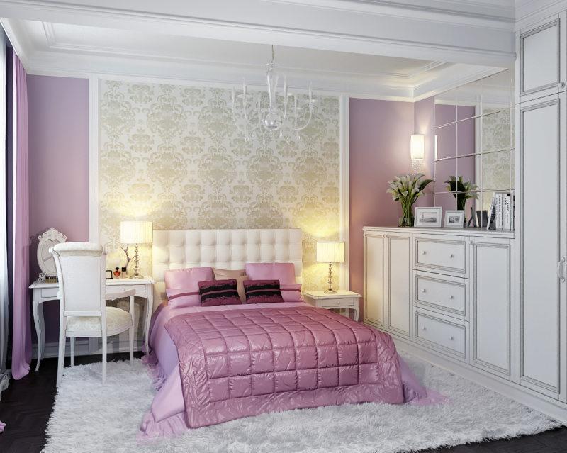 Décoration murale sur la tête du lit avec du papier peint en vinyle