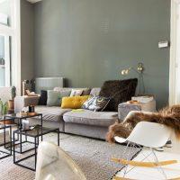 Mur gris derrière le canapé dans le salon