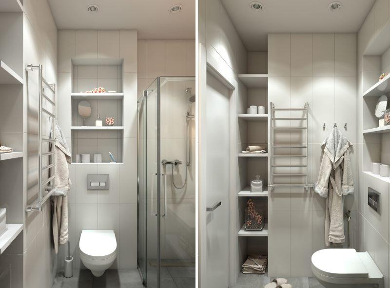 Conception d'une petite salle de bain dans un studio
