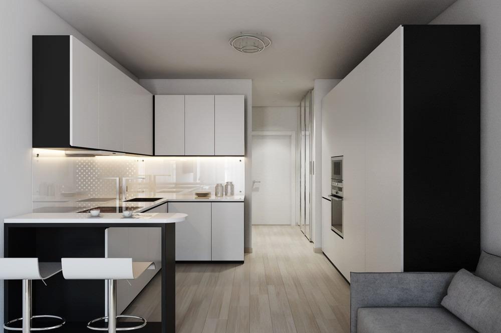 Coin cuisine dans un studio de style minimaliste
