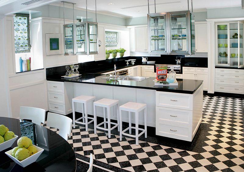 Carreau de diamant sur le sol de la cuisine