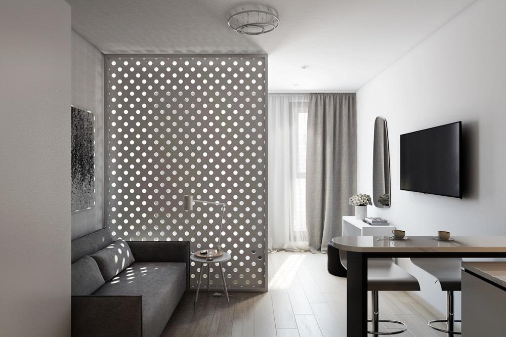 Design d'appartement = studios à une fenêtre dans un style minimaliste