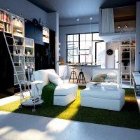 Studio avec une fenêtre sur deux niveaux