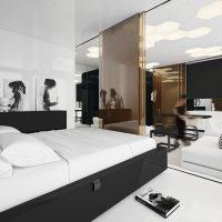 Fekete ágy fehér matraccal