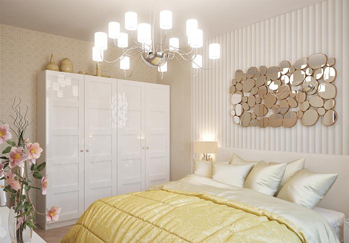 Armoire blanche dans la chambre avec deux types de papier peint