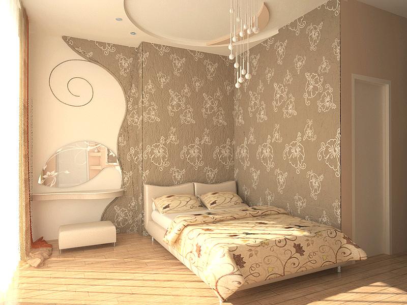 Chambre avec papier peint textile