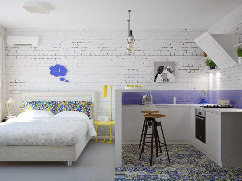 Egyszobás apartman fehér alapon