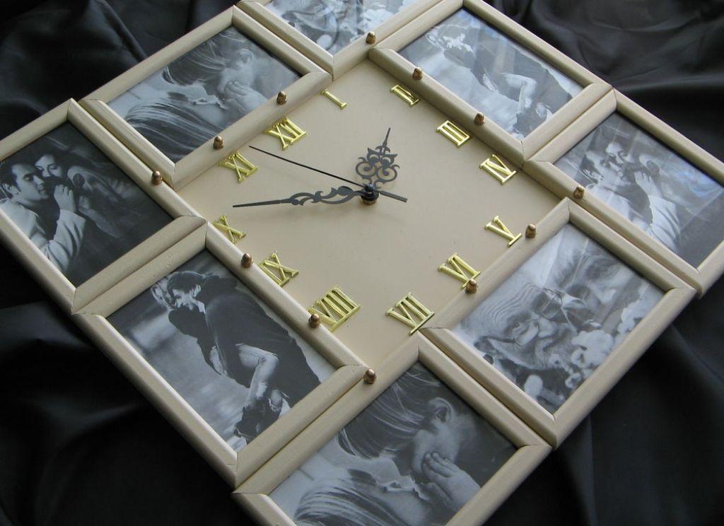 Sienas pulksteņa dekors ar fotoattēlu kā daļu no
