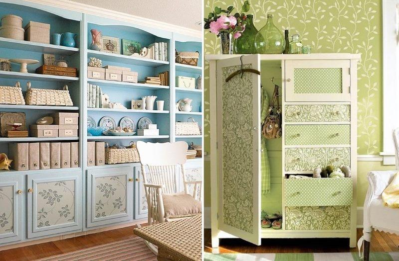 Décoration de surfaces de meubles avec du papier peint