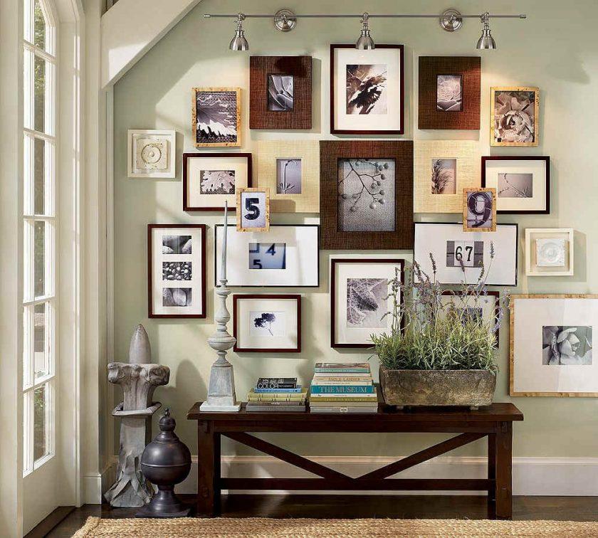 Fotoattēlu kolekcija dažādos rāmjos.