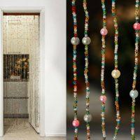 Rideaux de perles et de perles faits maison