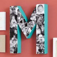 Lettre volumétrique M avec photos de bébé