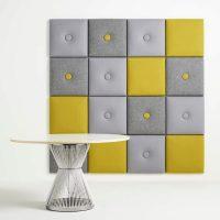 Panneau souple de carrés gris et jaunes