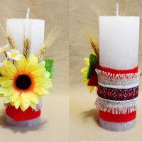 Décorer des bougies avec du tissu et des plantes