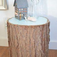 Table de chevet décorative en bois de chanvre